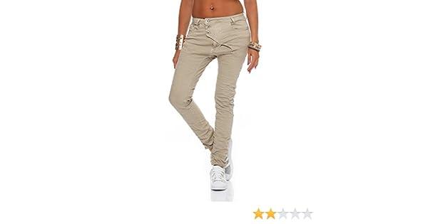 SKUTARI Luxuriöse Damen Jeans Stretch Baggy Loose Fit Damen Jeans Hose Boyfriend offene Knopfleiste Baggy