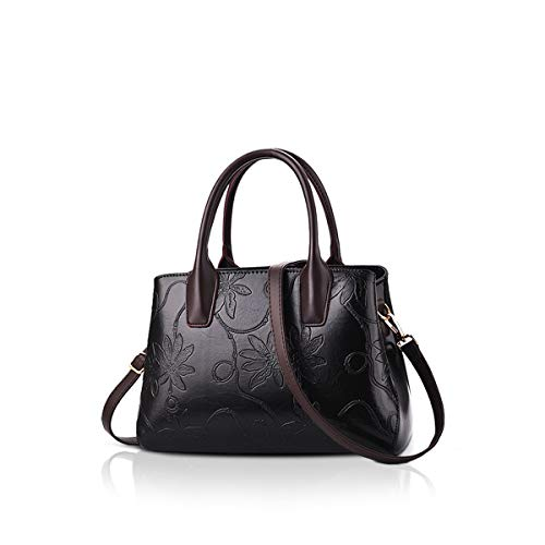 NICOLE&DORIS Handtaschen Damen Schultertasche Umhängetasche RetroTote Oberer Griff Tasche Geldbörse für Lady Schwarz (Suite Tragetasche)