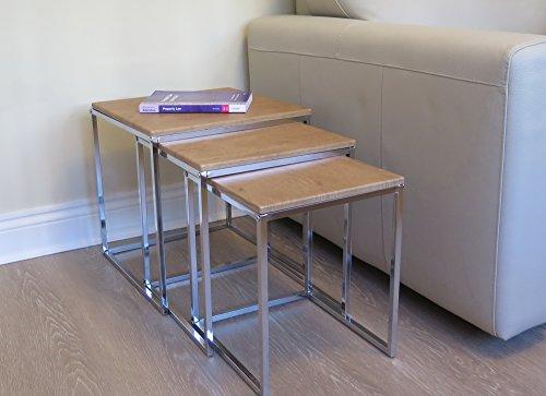 Aspecto Murano Juego de 3Nesting acabado de la mesa Tops/patas cromadas, madera, roble, 40x 40x 42cm