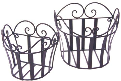 2er Set Wandkorb Hängekorb *Melli* Metall antik Landhaus, Eisen dunkelrostfarben lackiert -