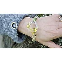 Braccialetto donna Artigianale, fiori veri, fiori di campo, Bracciale rigido in Resina, Regali per Lei, Unico pezzo, Gioiello fatto a mano, colore trasparente, giallo e verde, stile moderno