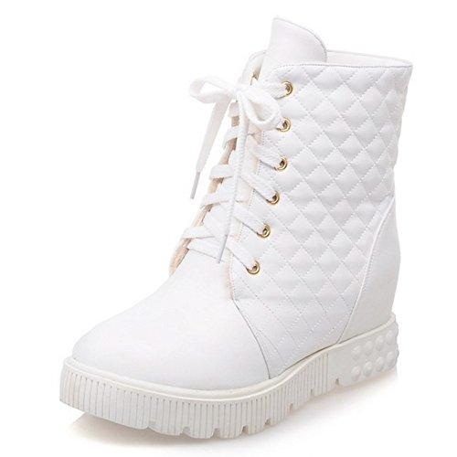 TAOFFEN Damen einfach elegant College-Stil flache Schuhe bequem runde Zehe Schnürung Knöchel Stiefel Weiß