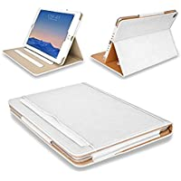 "MOFRED® White & Tan Apple iPad 9.7"" (Launched 2017) Leather Case-MOFRED®- Executive Multi Function Leather Standby Case for Apple New iPad 9.7"" (2017) with Built-in magnet for Sleep & Awake Feature"