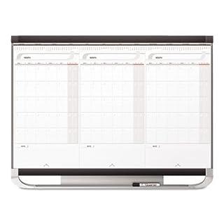 Prestige 2 Total Erase 3-Month Calendar, 36 x 24, White Surface, Graphite Frame, Sold as 1 Each by Quartet