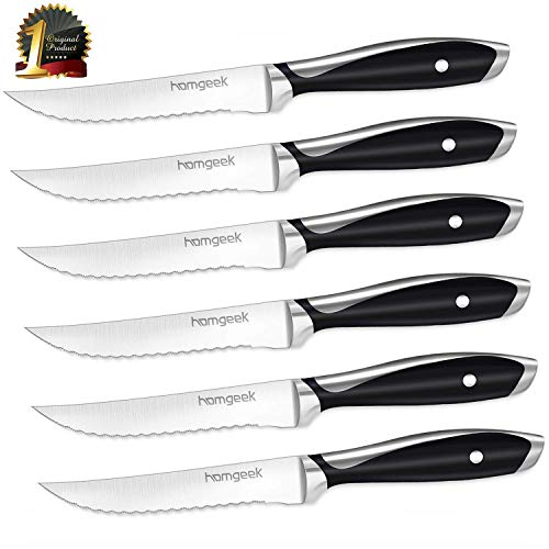 homgeek Steakmesser Set, 6 Stück Fein Gezahnte Steakmesser, Aus Edelstahl mit Ergonomischem Griff