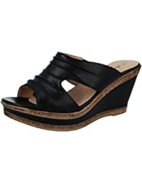 4dff4d48f7f3 Cushion Walk Ladies Leather Lined Peep Toe Mid Wedge Heel Slip On Mules  Sandals Size 3