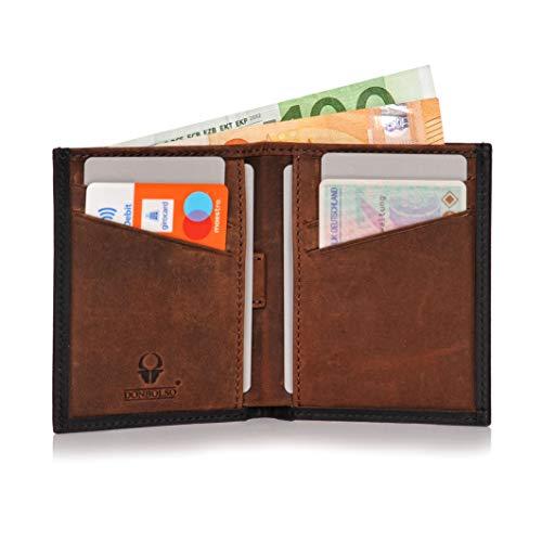 Donbolso Leder Geldbörse Bari - Geldbeutel klein mit RFID Schutz - Mini Portemonnaie für Herren und Damen - Slim Wallet - Flache Geldbörse