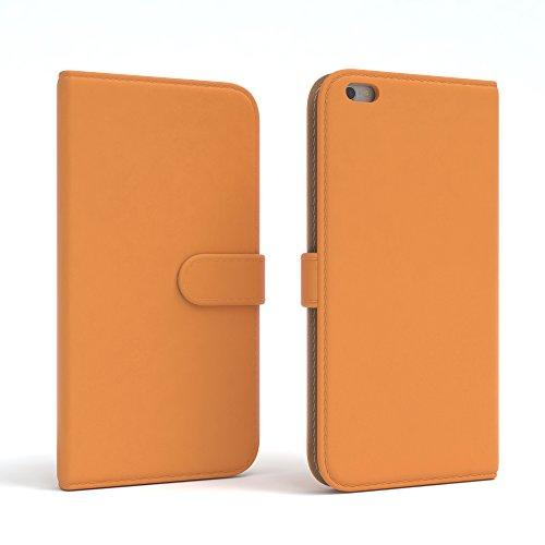 Apple iPhone 6S Plus / 6 Plus Tasche, EAZY CASE Book-Style Case Jeans, Premium Handyhülle mit Kartenfach, Schutzhülle Geldbeutel mit Standfunktion, Wallet Case in Hellgrau Orange - Uni
