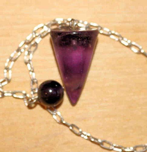 Kegelform aus Edelstein mit Silberkette und Endkugel - Fluorit ()