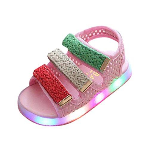 QinMM Kleinkind Kinder Sport Sommer Jungen Mädchen Baby Sandalen LED Leucht Schuhe Turnschuhe Sommer Freizeitschuhe Nette Weiße Rosa Schwarz 20-29 (24 EU, Rosa)