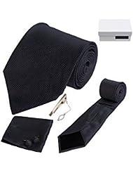 Coffret Cadeau Vérone - Cravate noire, boutons de manchette, pince à cravate, pochette de costume
