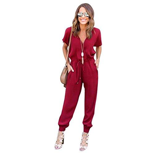 ❤️ Amlaiworld Mujer Mono Elegante largos Verano Bodysuit Verano Pantalones Largos para Fiesta Playa Beachwear y Clubwear Bodycon Mono de fiesta de noche (rojo, L)