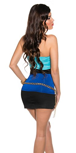 In Style Damen Bandeau Tube Top mit Polsterung Push up Bi Color | Party Club Dusko Shirt | weitere Farben Türkis-Blau