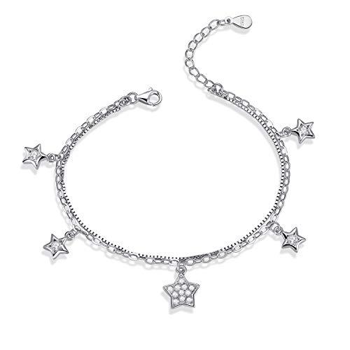 LDUDU Mädchen Armband Damen Armkette Doppelschicht Sterne mit Zirkon Silber 925 Geschenk für Weihnachten Valentinstag Geburtstag, verstellbar 16-19cm (Kinder-armbänder)
