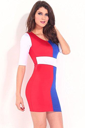 Dissa® femme Rouge Bleu SY21084 robe de cocktail Rouge Bleu