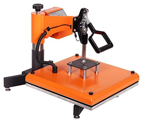 RICOO Transferpresse T538B-GS [38x38cm] T-Shirtpresse Heat Press Thermopresse Textilpresse für Transfer-Folie Transfer-Papier || Gelb/Orange || - 6