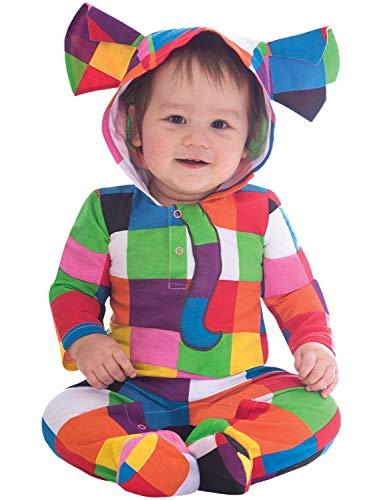 Baby Jungen Mädchen Offiziell Elmer The Patchwork Elefant bunt Kostüm mit Kaputze Strampelanzug World Fancy 3-18 Monate - 6-9 Months (Elefant Kostüm 18 Monate)