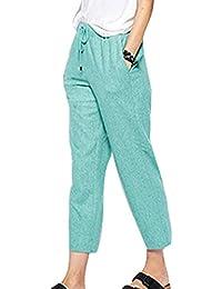 Pantaloni Harem per Donna - Moda Vita Media Pantaloni Larghi con Tasche  Comodi Vita Elastica Casuale 740e1df206d
