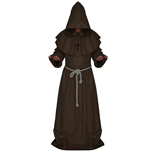 Medieval Friar Hooded Monk Renaissance Priest Robe Cape Cloak Halloween Costume - Für Erwachsene Friar Tuck Kostüm