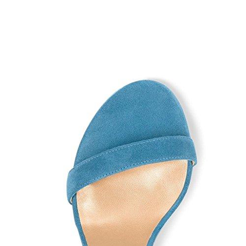 EDEFS Damen Knöchelriemchen Blockabsatz Sandalen Peep Toe Frühjahr Sommer High Heel Schuhe Blau
