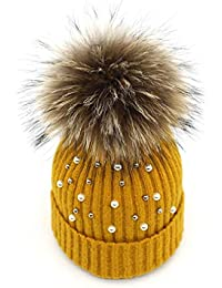 6611166a363 Womens Girls Winter Cotton Knitted Beanie Bobble Hats Warm Cap Beads Large Fur  Pom Pom Snowboard