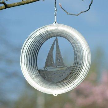 Edelstahl Windspiel - SEGELBOOT 180 - lichtreflektierend - Abmessung: 18x19cm - inkl. Aufhängung