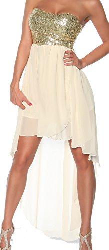 jowiha® Umwerfendes Abendkleid Bandeau Kleid mit Pailletten Creme Weiß oder Schwarz für viele Gelegenheiten Größe S M oder L Creme Weiß