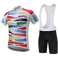 XDXDWEWERT Pantalones de Ciclismo Pantalones de Montar en BIC Deportes de los Hombres al Aire Libre Mountain Dry Cyking Top + Blanco Culotte Corto Traje de Babero (Color : White Bib, tamaño : XL)