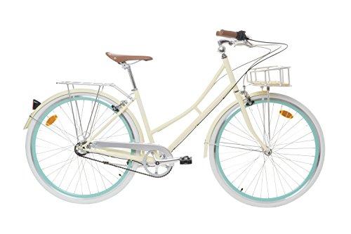 Fabric Cityrad - Hollandrad Damen Fahrrad mit Korb, Shimano Inter 3-Gang, 5 Farben, 14 Kg. (Vanilla Stoky Deluxe, 45)