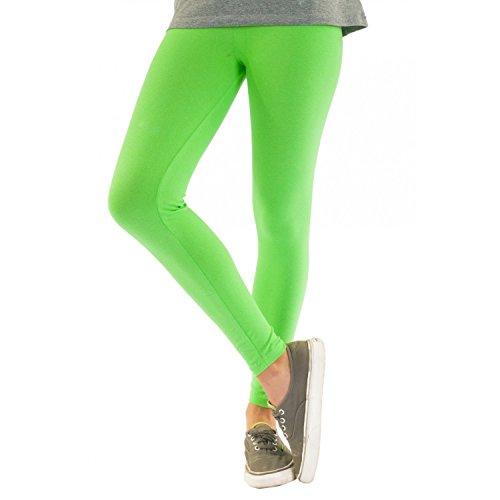 Blickdichte Damen Leggings aus Baumwolle Leggins Knöchellang in schwarz weiß grün grau rot gelb Pistazie