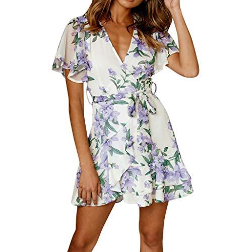 Leg Avenue Kostüm Belle - UYSDF Damen Urlaub Sommer Blumen Drucken Kurz Ärmel Party Mini Kleid 2019