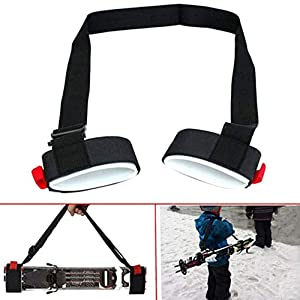 Deasengmine Skiing Pole Shoulder Hand Carrier Lash Adjustable Handle Straps Comfortable Hook Loop Protecting Black