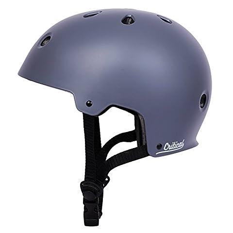 Critical Cycles 2429 Klassischer CM2 Helm mit 11Belüftungsöffnungen, Pendlerrad/Skate/mehrere Sportarten - Matt Schiefer, L/59 - 63 cm