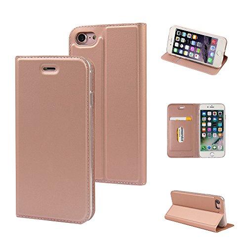 hone 6s Plus Hülle, iPhone 6 Plus Hülle, Magnetisch Folio Flip PU Leder Weich TPU Case Cover Handyhülle Schutzhülle Tasche Etui mit Ständer und Kartenfach - Roségold (MA-RG) ()