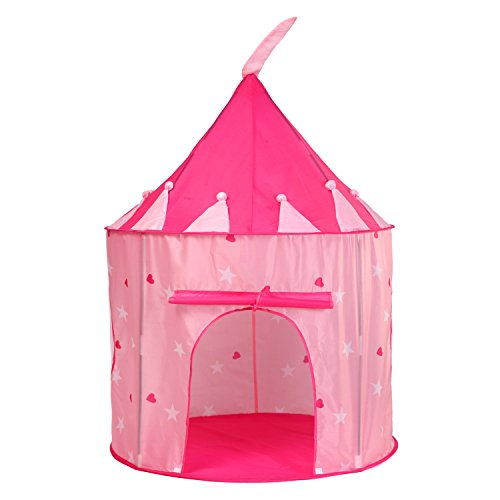Truedays Spielzelt Princess Kinderspielzelt zum Aufstellen in Form einer Burg Kinderzelt schloss Burg Spielzelt Spielhaus Schloss Zelt für Mädchen Rosa