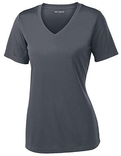 Damen Kurzarm Feuchtigkeitstransport Sport-Shirts in Größen XS-4XL - Grau - 50 DE/52 DE (XXL) (Dri-fit-sleeveless Tee)