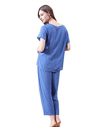 Menschwear Damen Tranquil Dreams Baumwolle Pyjama Komfort Fit Top und Hosen Blau