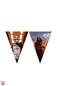 Partido 1 Wimpelkette * STAR WARS VII * para los niños y de cumpleaños temática // Conjunto plástico de la bandera Banner Kids Cumpleaños Lema La Fuerza despierta Lucasfilm Darth Vader Yoda de Star Wars Episodio Disney Kylo Ren