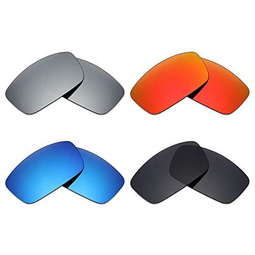 MRY 4Paar Polarisierte Ersatzgläser für Spy Optic Logan sunglasses-stealth schwarz/fire rot/ice blau/silber titan