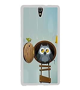 Cute Owl and a Bird 2D Hard Polycarbonate Designer Back Case Cover for Sony Xperia C5 Ultra Dual :: Sony Xperia C5 E5533 E5563