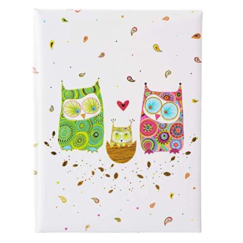 Goldbuch Babytagebuch, Eulenfamilie, 21 x 28 cm, 44 illustrierte Seiten mit Pergamin-Trennblättern, Kunstdruck mit Goldprägung und Relief, Weiß, 11163
