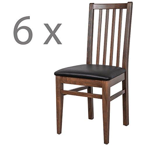 Schwarzwald Massivholz Esszimmerstuhl ST07 Abraham mit Sitzpolster belastbar bis 130 kg Gastronomie Qualität in Weiss, Nussbaum oder Buche (6 Stühle, Nussbaum Schwarz)
