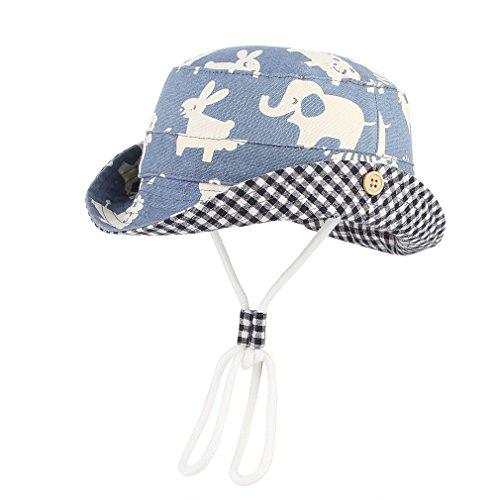 DEMU Baby Kleinkinder Fischerhut Strandhut Sommerhut Sonnenschutz Kappe Mütze (Tier, Hut Umfang 52cm)