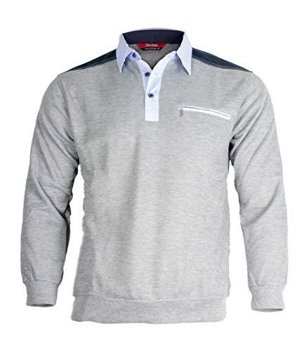 Soltice Herren Poloshirt Langarm, Sweatshirt, Polohemd, Blousonshirts mit Kragen - Grösse M bis 3XL (M, Grau) -
