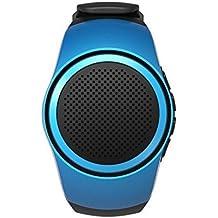 Multifuncional inalámbrico Bluetooth Altavoz reloj [conveniente y portátil deportes pulsera Mini altavoces al aire libre, diseño] MP3reproductor de música + Radio + manos libres llamadas + temporizador, azul