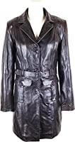 UNICORN Womens Mid Length Coat Real Leather Jacket Brown #O7