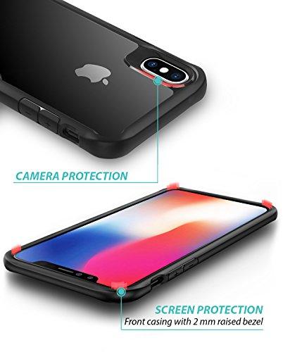 iPhone X Cover ZUSLAB [Armatura Chiara] Custodia duro rigida trasparente con Paraurti antiurto silicone TPU, Custodia ibrida con protezione dello schermo in vetro, Ultra-sottile, Copertura protettiva  Nero
