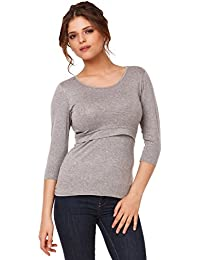 Happy Mama. Mujer top camiseta premamá lactancia cuello redondo doble capa. 988p