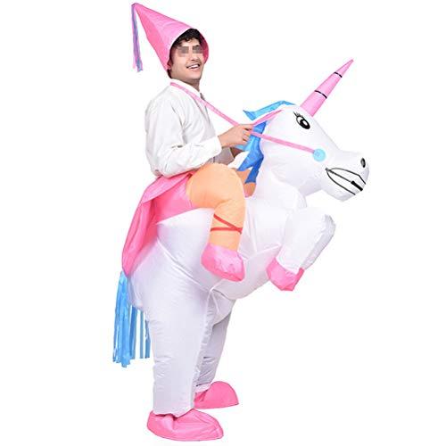 Amosfun Disfraz Inflable De Unicornio Traje Inflable de Jinete Disfraz Hinchable De Cosplay para Fiesta (sin batería)