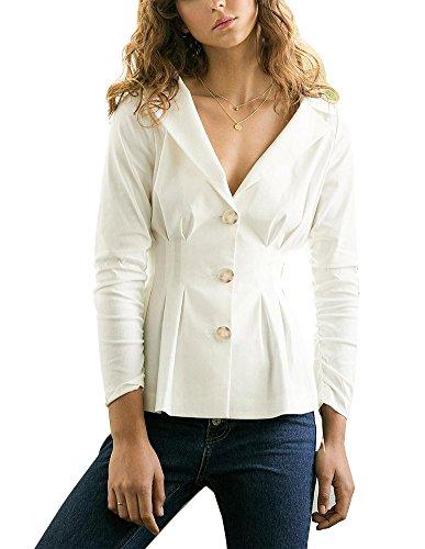 Damen Mantel Trench Coat With Drei Tasten V-Ausschnitt Einfarbig Lange Ärmel Weiß S